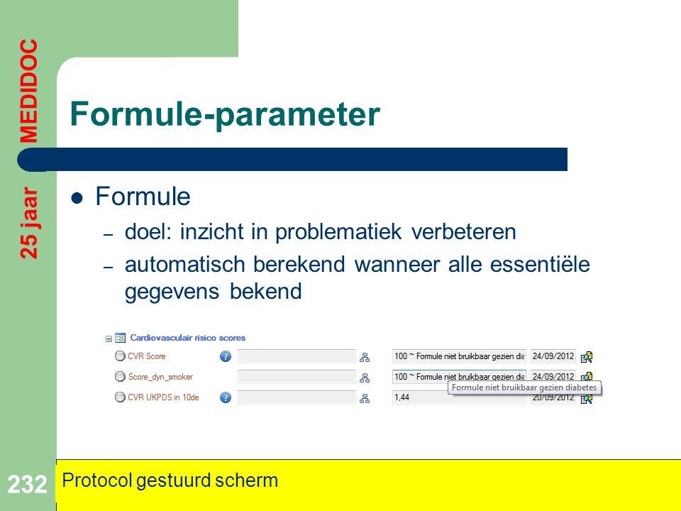 Formule-parameter Formule 25 jaar MEDIDOC
