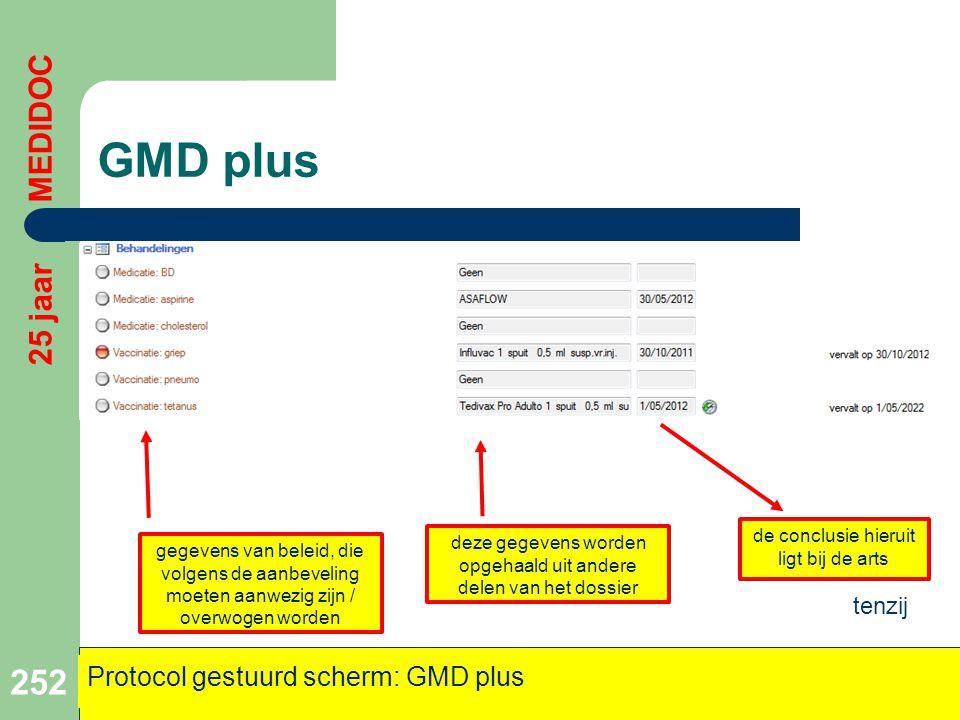 GMD plus 25 jaar MEDIDOC Protocol gestuurd scherm: GMD plus tenzij