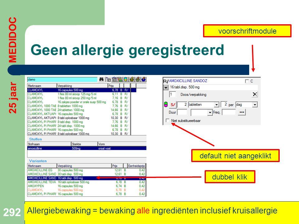 Geen allergie geregistreerd