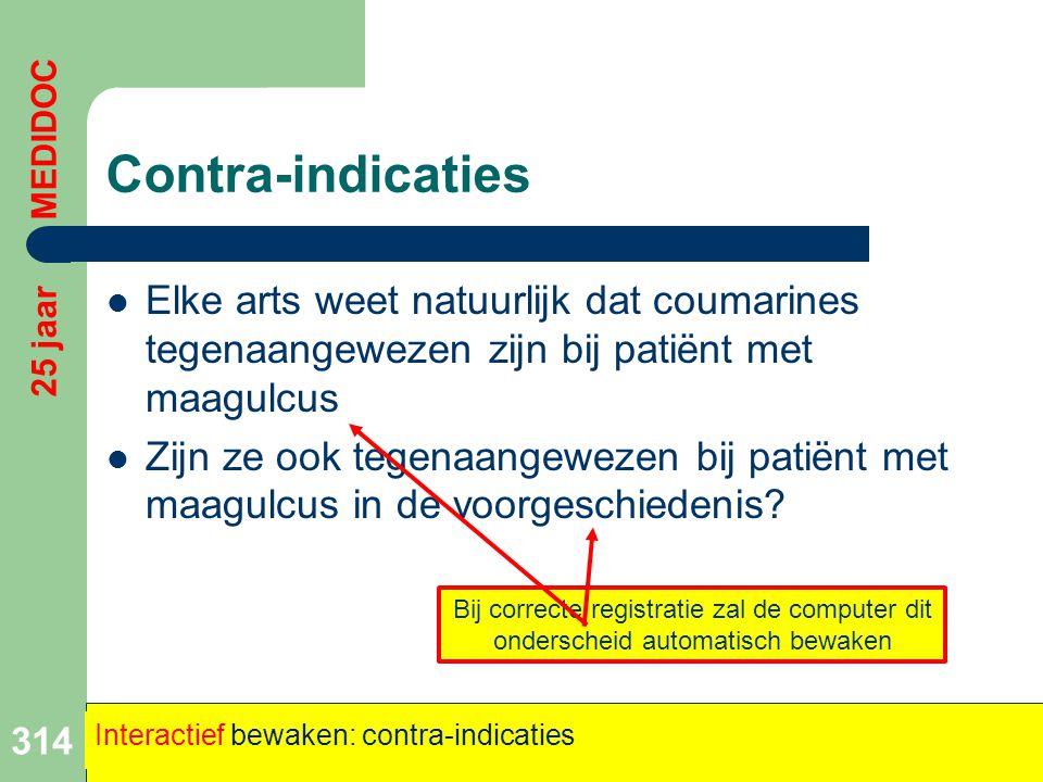 Contra-indicaties 25 jaar MEDIDOC. Elke arts weet natuurlijk dat coumarines tegenaangewezen zijn bij patiënt met maagulcus.