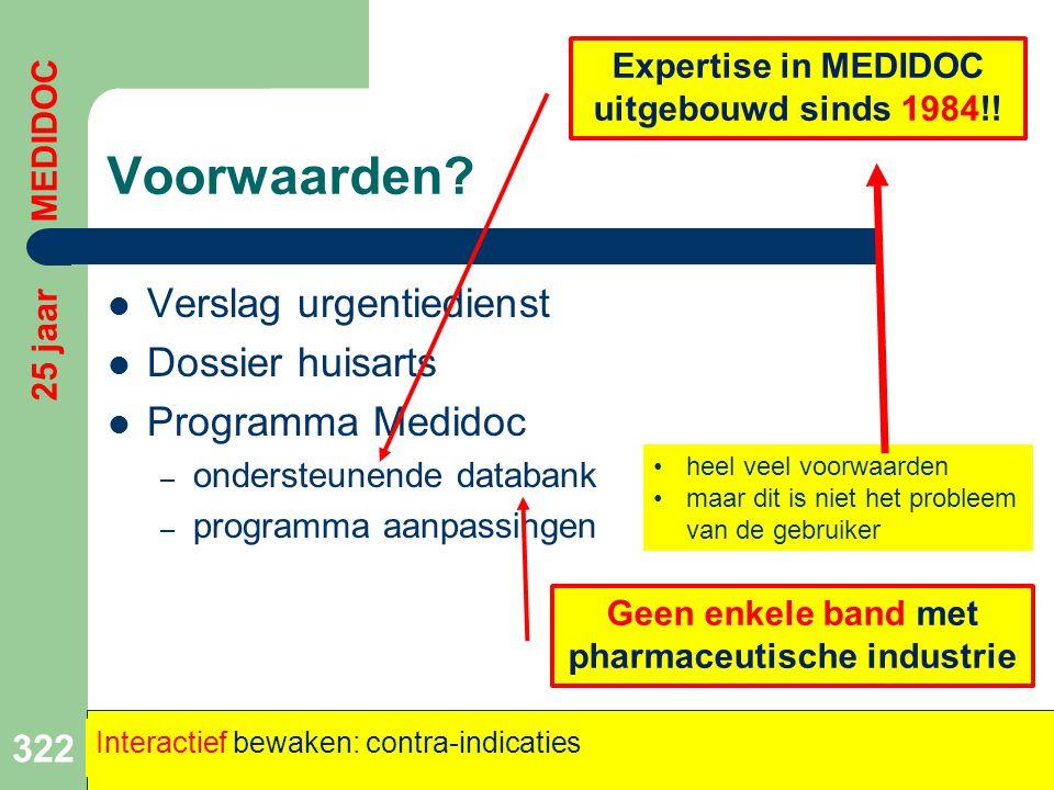 Voorwaarden Verslag urgentiedienst Dossier huisarts Programma Medidoc