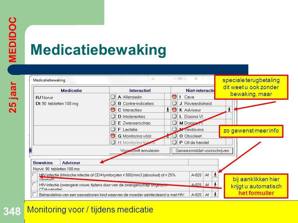 Medicatiebewaking 25 jaar MEDIDOC Monitoring voor / tijdens medicatie