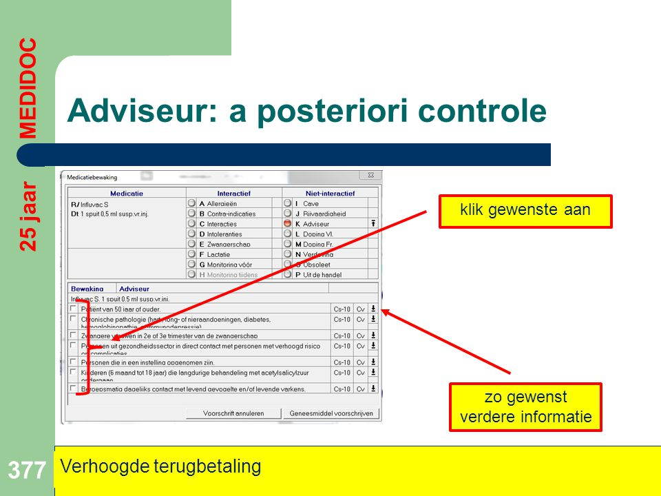 Adviseur: a posteriori controle