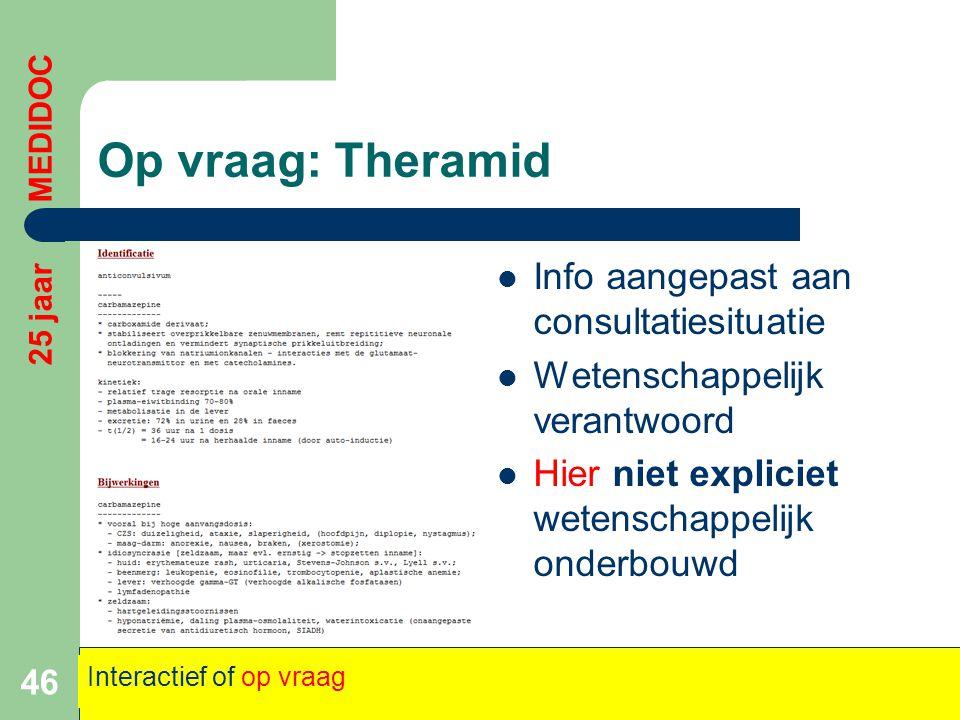 Op vraag: Theramid Info aangepast aan consultatiesituatie