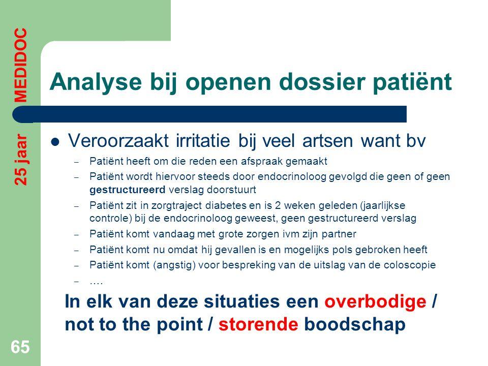 Analyse bij openen dossier patiënt