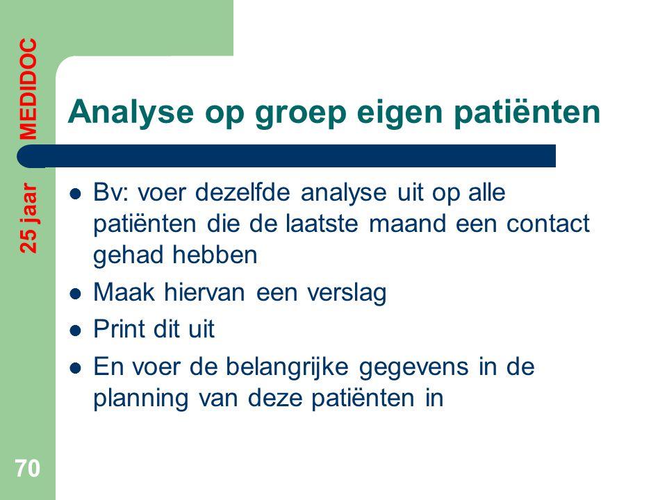 Analyse op groep eigen patiënten