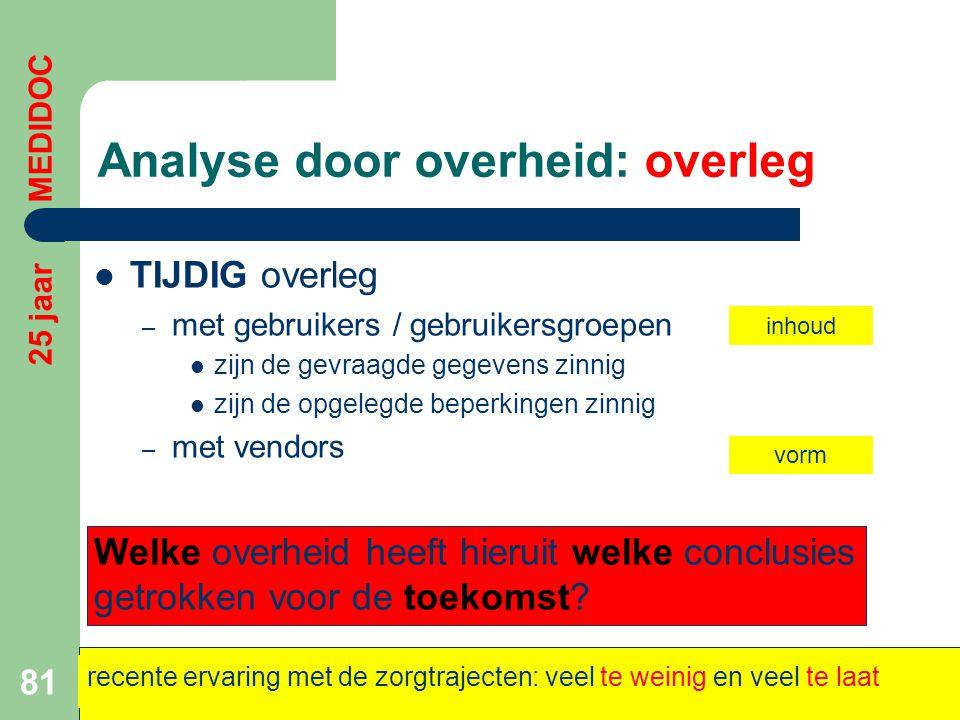 Analyse door overheid: overleg