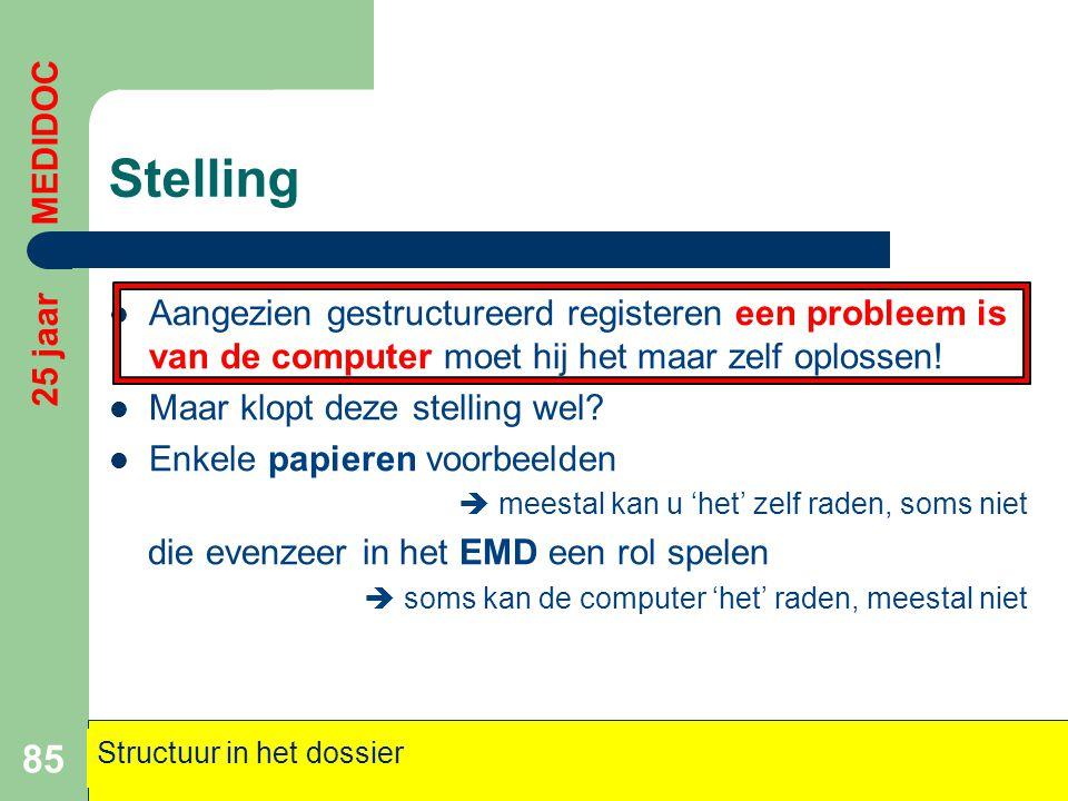 Stelling 25 jaar MEDIDOC. Aangezien gestructureerd registeren een probleem is van de computer moet hij het maar zelf oplossen!