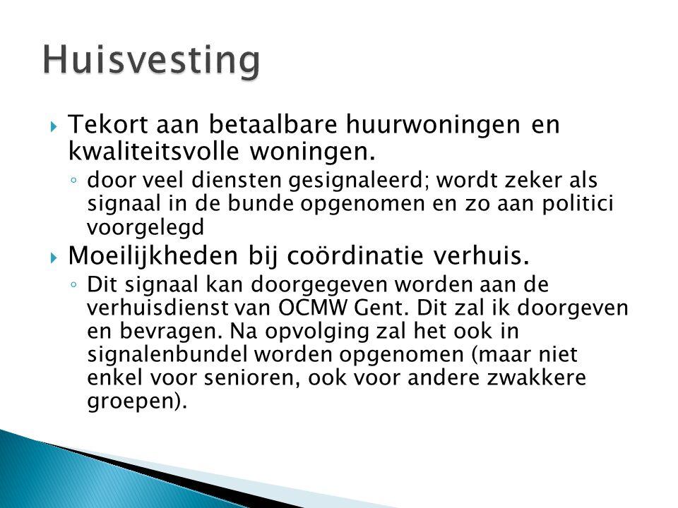 Huisvesting Tekort aan betaalbare huurwoningen en kwaliteitsvolle woningen.