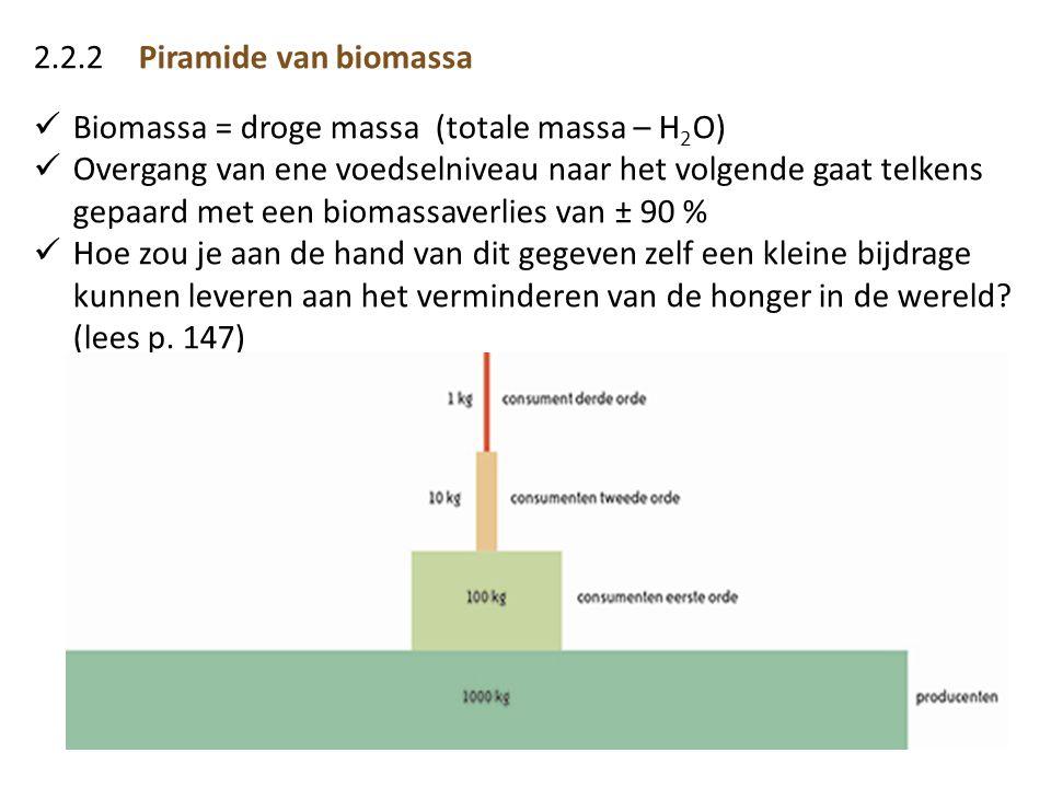 2.2.2 Piramide van biomassa Biomassa = droge massa (totale massa – H2O)
