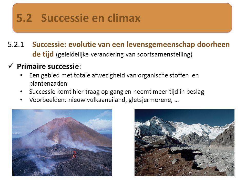 5.2 Successie en climax 5.2.1 Successie: evolutie van een levensgemeenschap doorheen de tijd (geleidelijke verandering van soortsamenstelling)