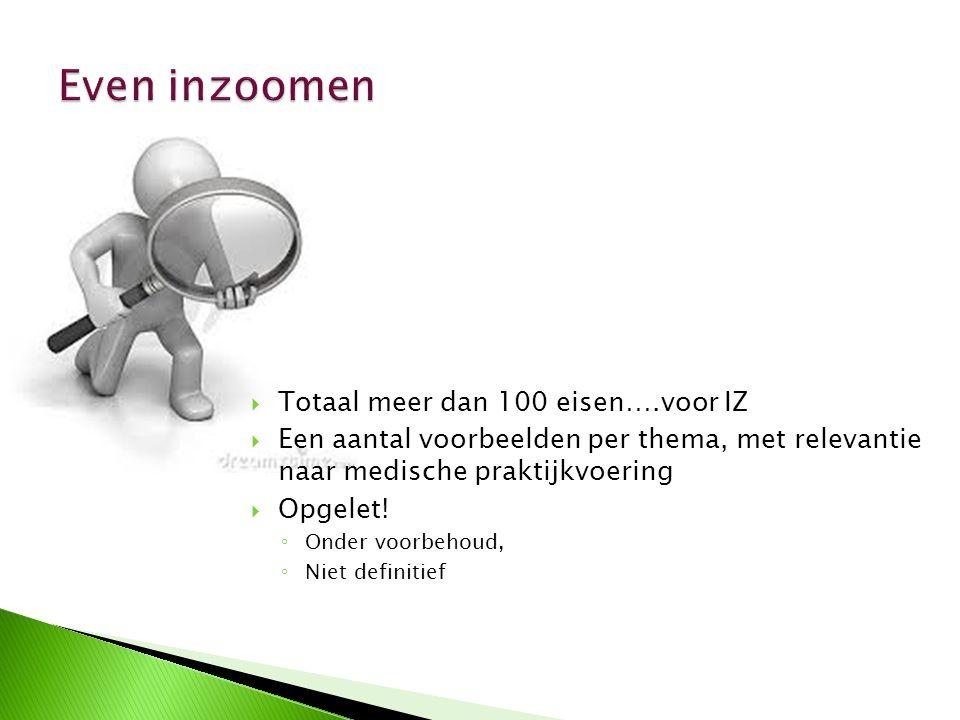 Even inzoomen Totaal meer dan 100 eisen….voor IZ