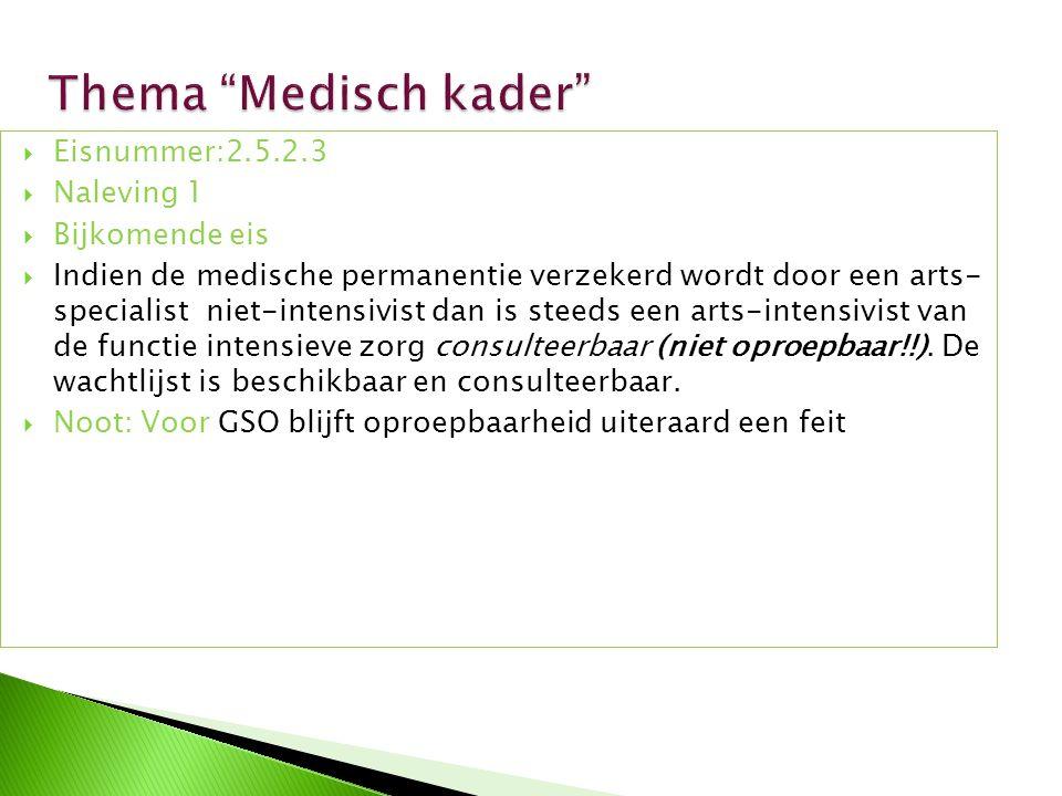 Thema Medisch kader Eisnummer:2.5.2.3 Naleving 1 Bijkomende eis