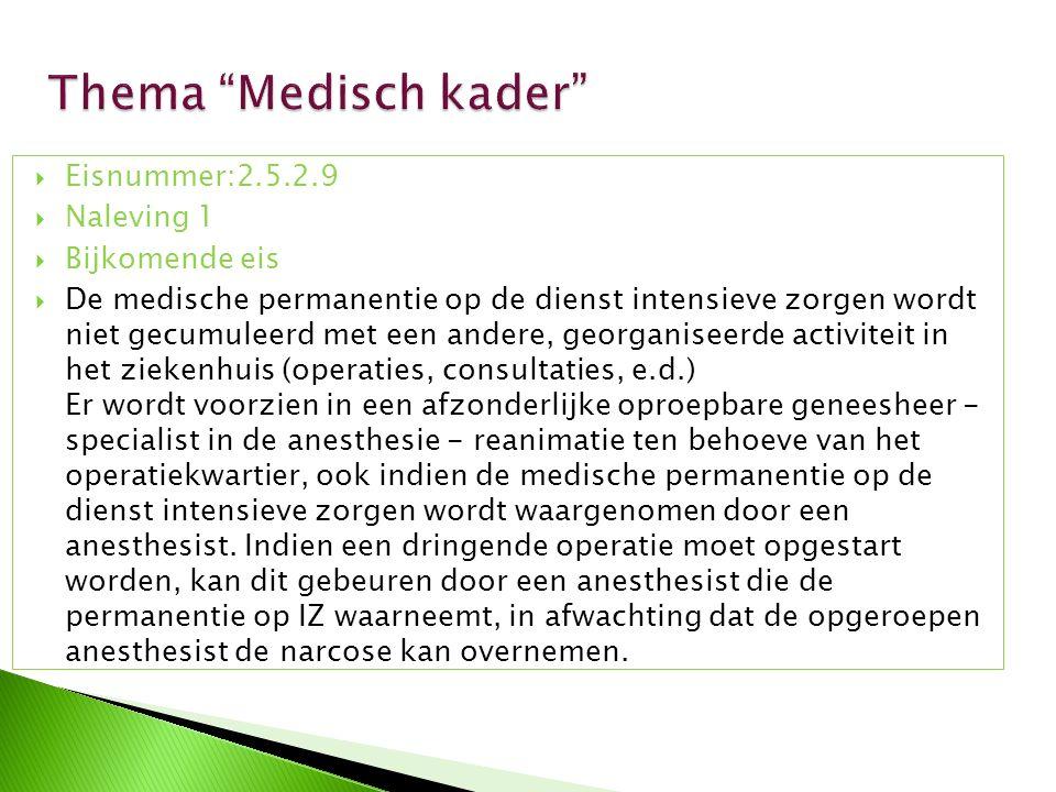 Thema Medisch kader Eisnummer:2.5.2.9 Naleving 1 Bijkomende eis