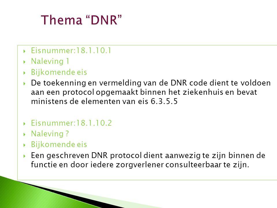 Thema DNR Eisnummer:18.1.10.1 Naleving 1 Bijkomende eis