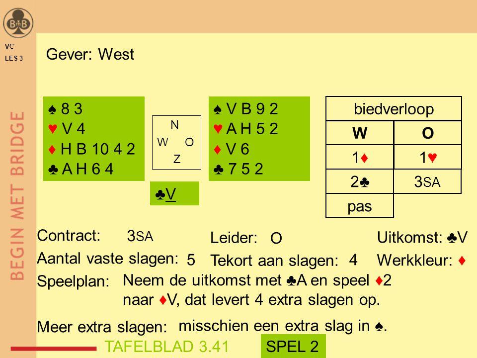 misschien een extra slag in ♠. TAFELBLAD 3.41 SPEL 2