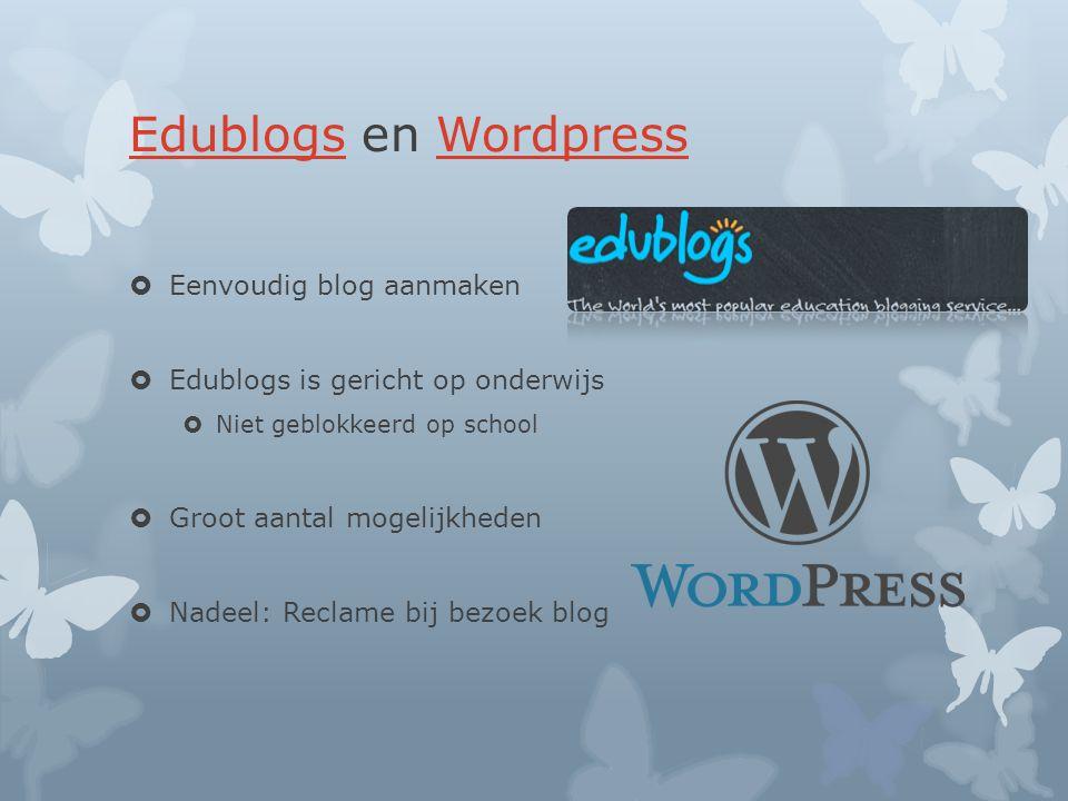 Edublogs en Wordpress Eenvoudig blog aanmaken