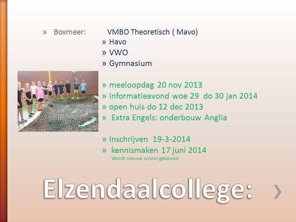 Elzendaalcollege: VWO Gymnasium meeloopdag 20 nov 2013