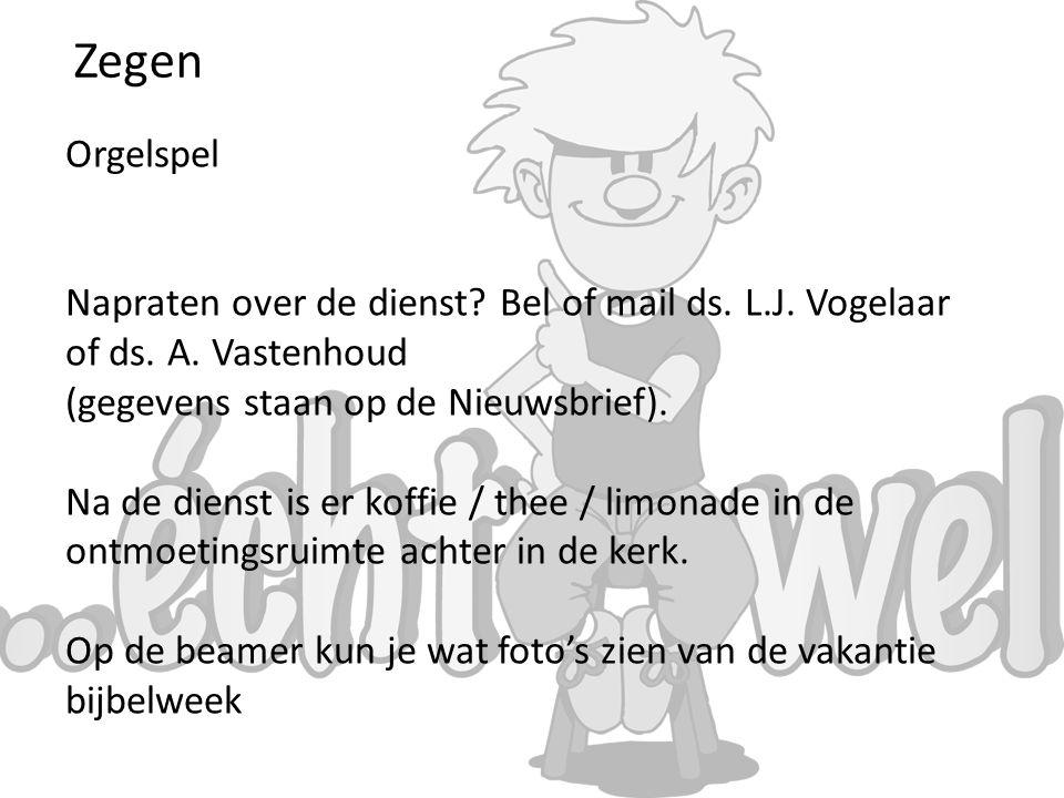 Zegen Orgelspel. Napraten over de dienst Bel of mail ds. L.J. Vogelaar of ds. A. Vastenhoud. (gegevens staan op de Nieuwsbrief).