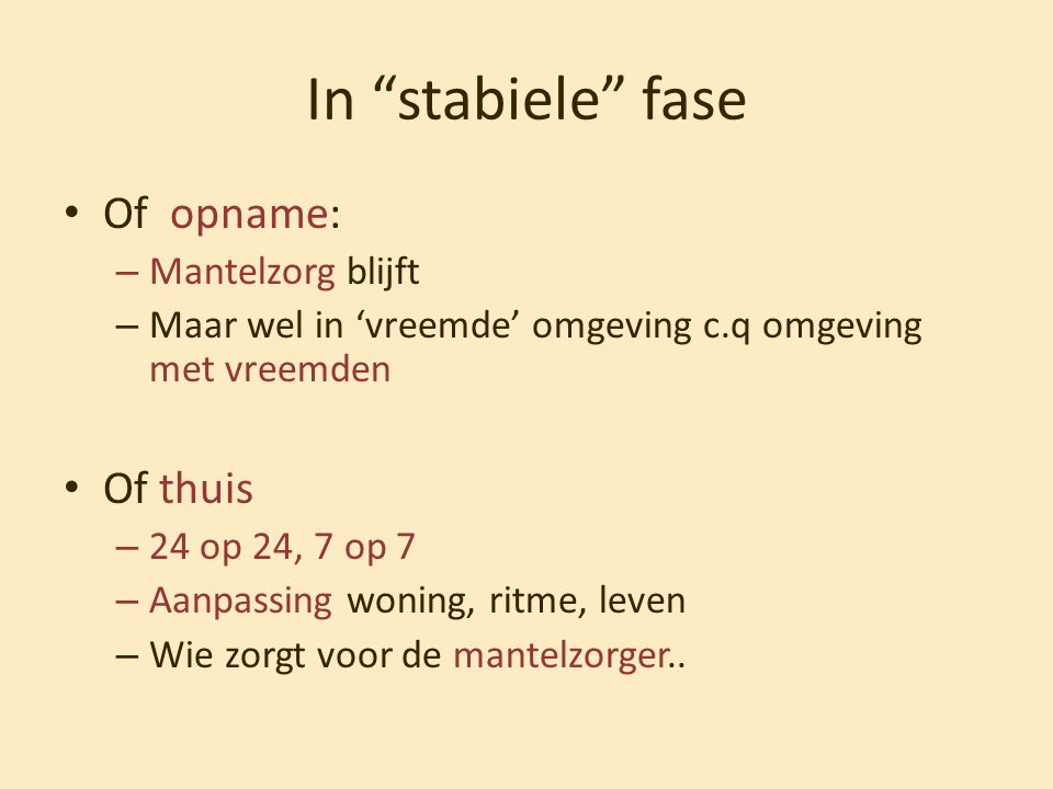 In stabiele fase Of opname: Of thuis Mantelzorg blijft