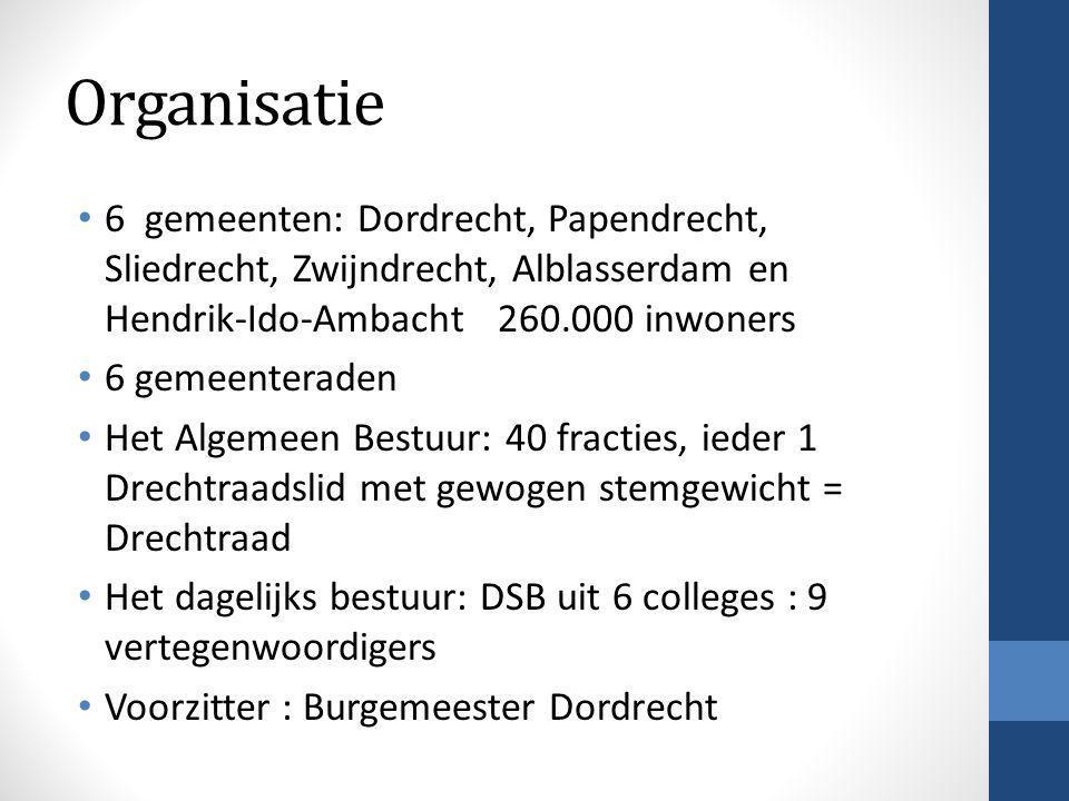 Organisatie 6 gemeenten: Dordrecht, Papendrecht, Sliedrecht, Zwijndrecht, Alblasserdam en Hendrik-Ido-Ambacht 260.000 inwoners.