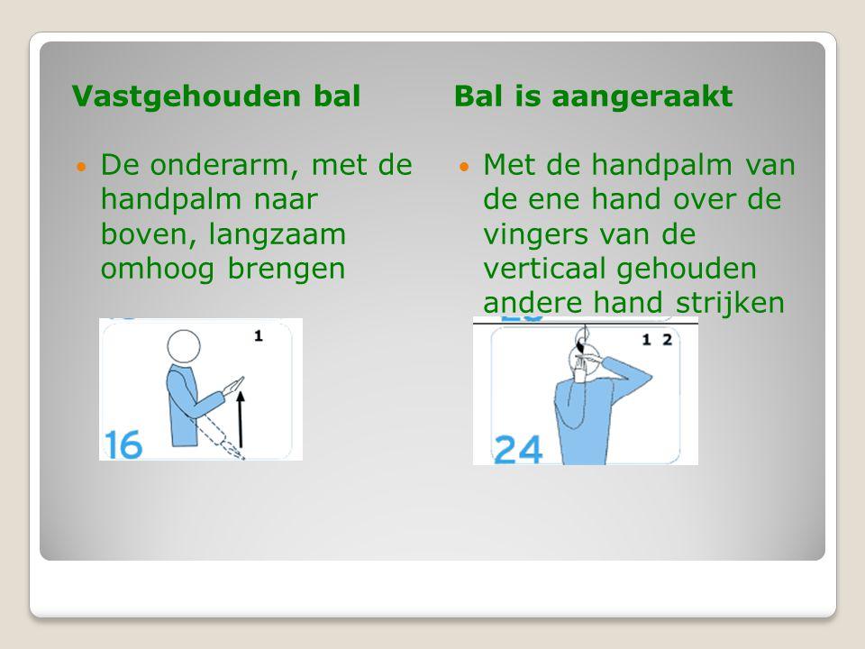 Vastgehouden bal Bal is aangeraakt. De onderarm, met de handpalm naar boven, langzaam omhoog brengen.