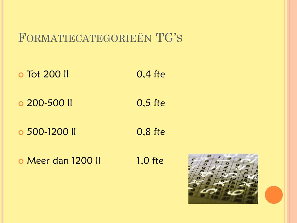 Formatiecategorieën TG's