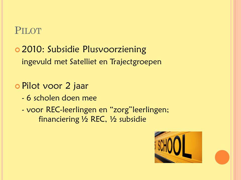 Pilot 2010: Subsidie Plusvoorziening Pilot voor 2 jaar