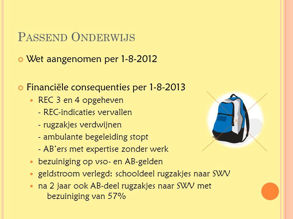 Passend Onderwijs Wet aangenomen per 1-8-2012