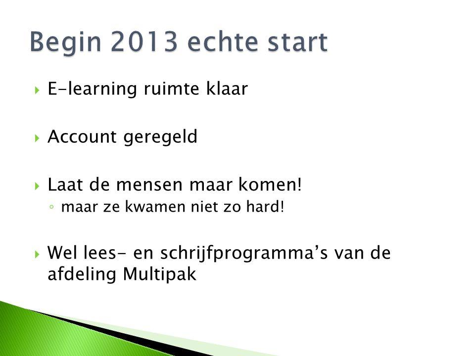 Begin 2013 echte start E-learning ruimte klaar Account geregeld