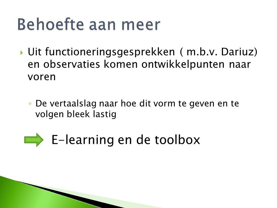 Behoefte aan meer E-learning en de toolbox
