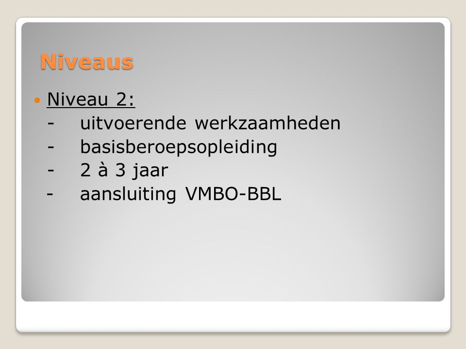 Niveaus Niveau 2: - uitvoerende werkzaamheden - basisberoepsopleiding