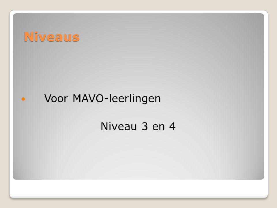 Niveaus Voor MAVO-leerlingen Niveau 3 en 4