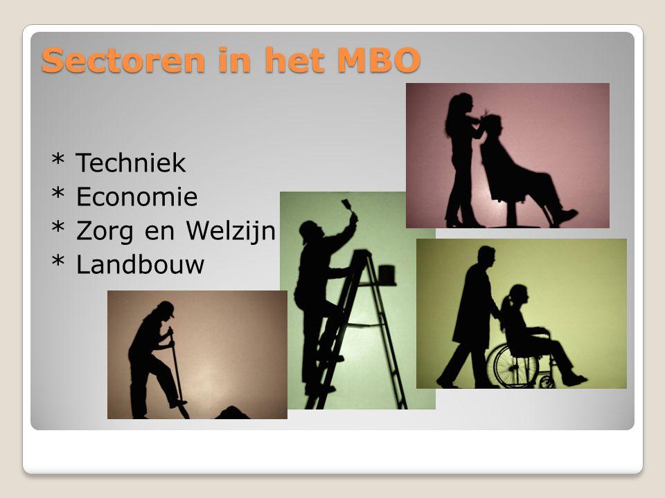 Sectoren in het MBO * Techniek * Economie * Zorg en Welzijn * Landbouw