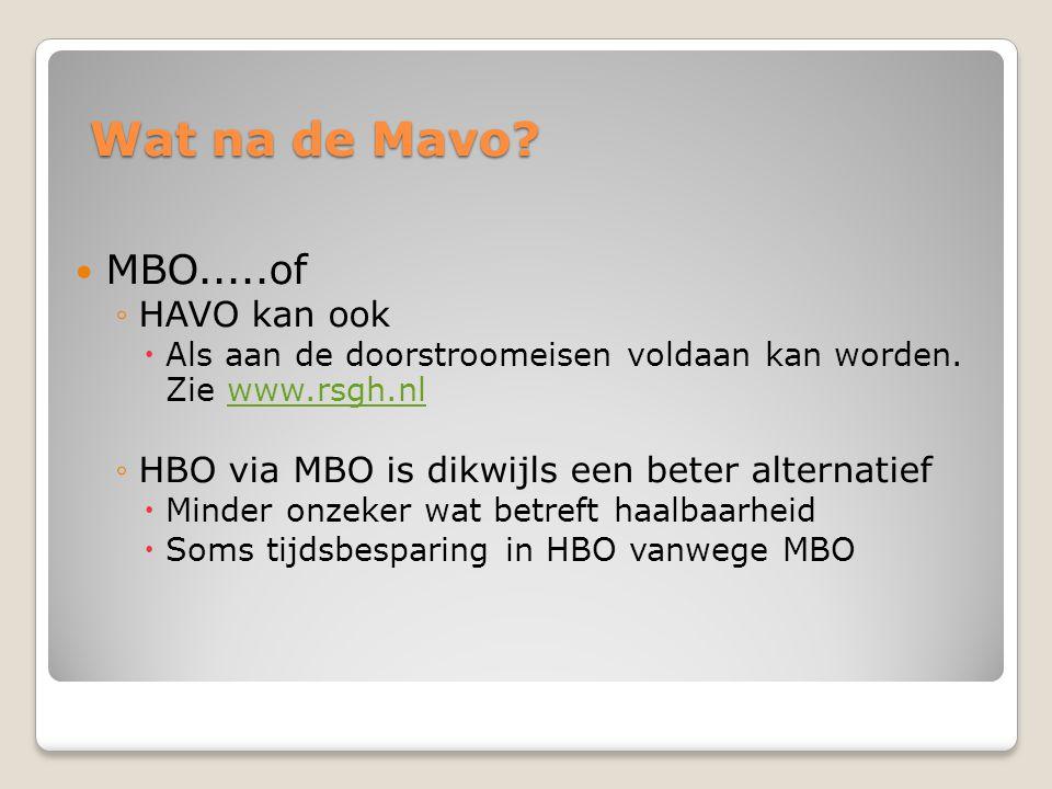 Wat na de Mavo MBO.....of HAVO kan ook