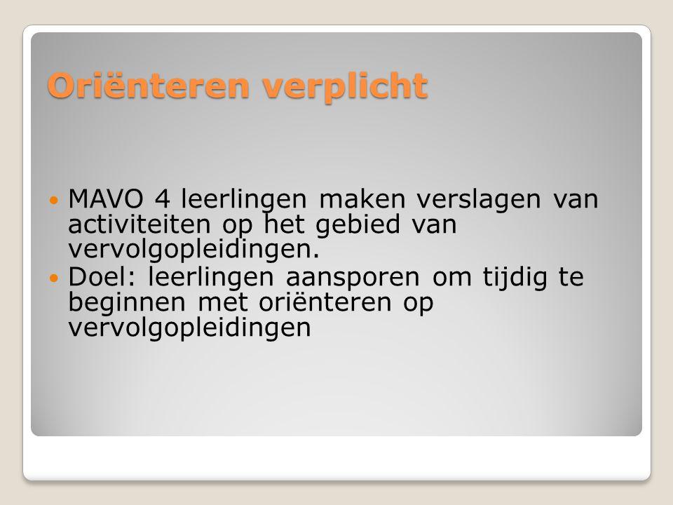 Oriënteren verplicht MAVO 4 leerlingen maken verslagen van activiteiten op het gebied van vervolgopleidingen.