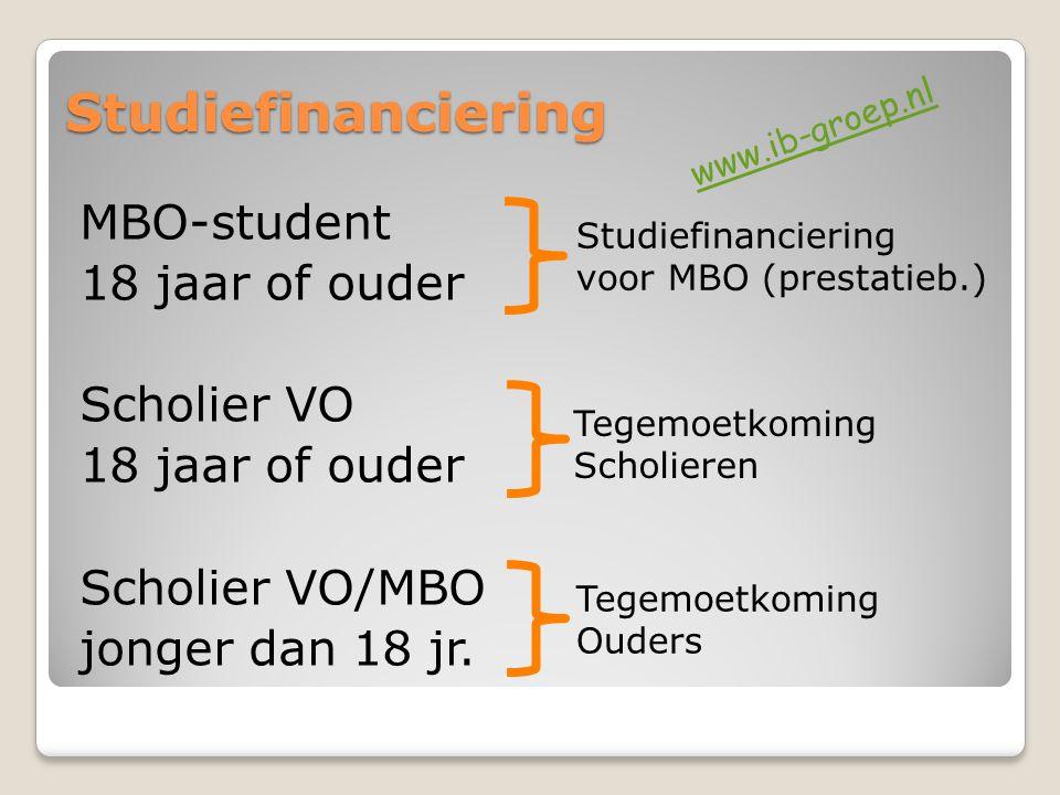 Studiefinanciering MBO-student 18 jaar of ouder Scholier VO