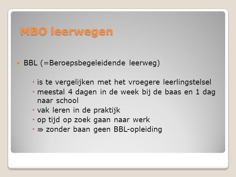 MBO leerwegen BBL (=Beroepsbegeleidende leerweg)