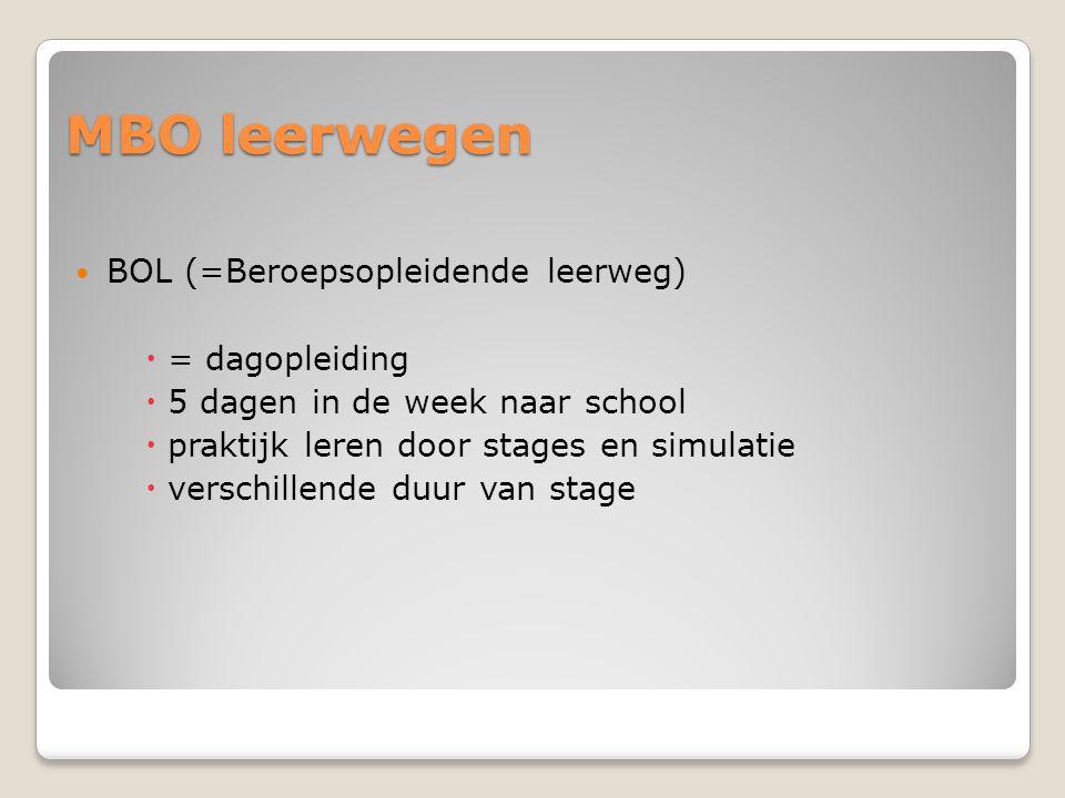 MBO leerwegen BOL (=Beroepsopleidende leerweg) = dagopleiding