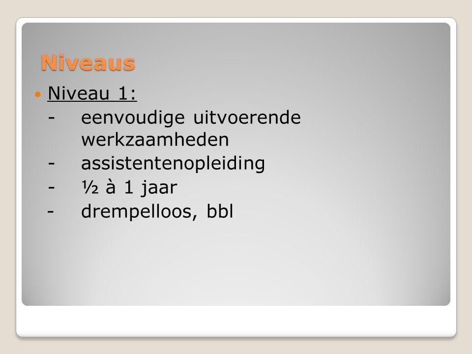Niveaus Niveau 1: - eenvoudige uitvoerende werkzaamheden