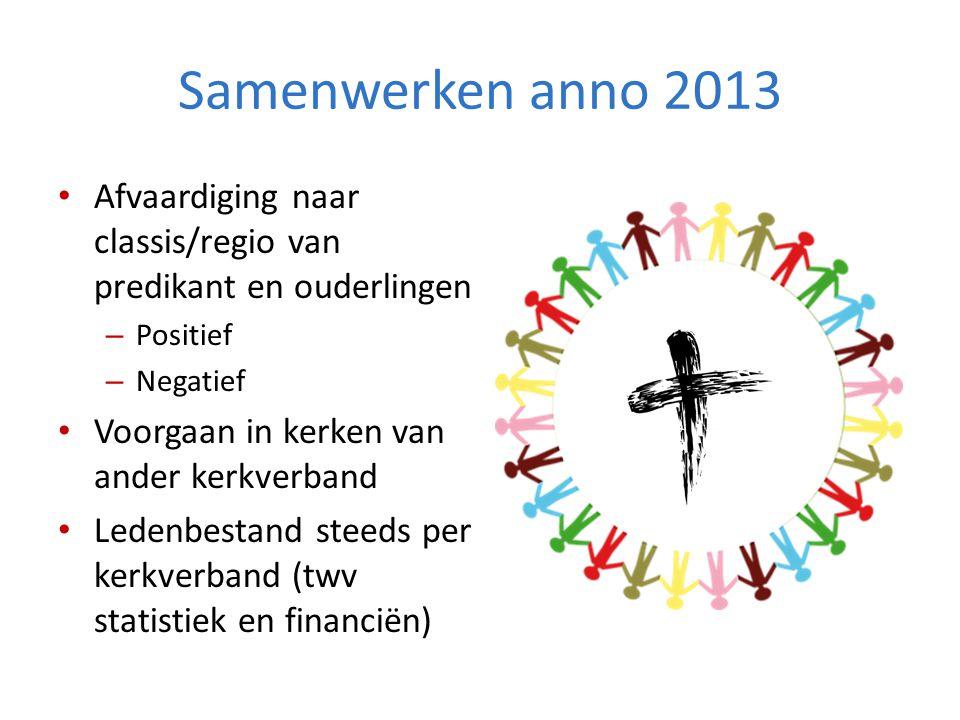 Samenwerken anno 2013 Afvaardiging naar classis/regio van predikant en ouderlingen. Positief. Negatief.