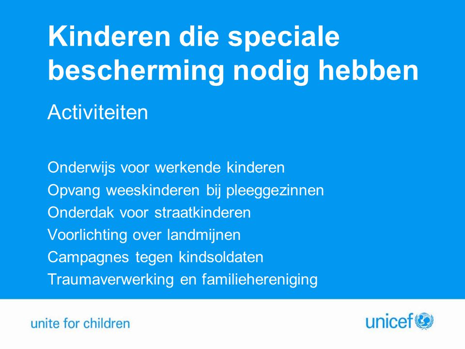 Kinderen die speciale bescherming nodig hebben