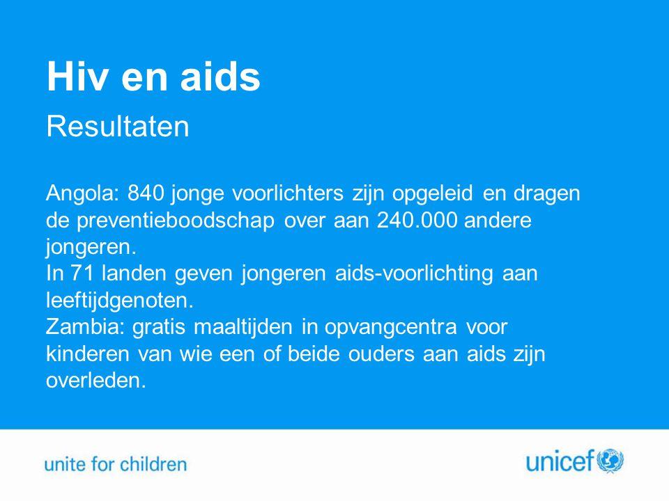 Hiv en aids Resultaten. Angola: 840 jonge voorlichters zijn opgeleid en dragen. de preventieboodschap over aan 240.000 andere.