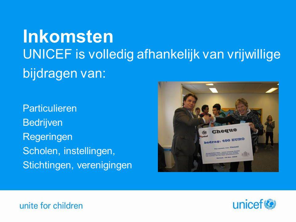 Inkomsten UNICEF is volledig afhankelijk van vrijwillige