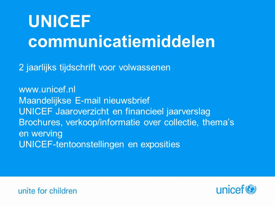 UNICEF communicatiemiddelen