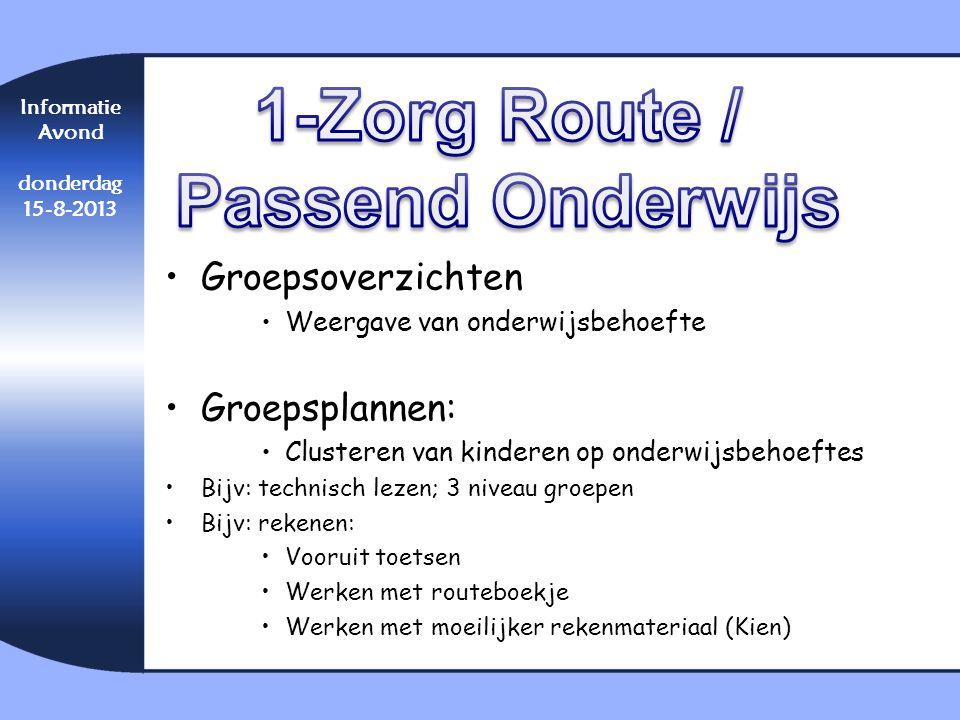1-Zorg Route / Passend Onderwijs