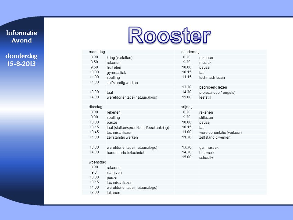 Rooster Informatie Avond donderdag 15-8-2013 maandag donderdag 8.30
