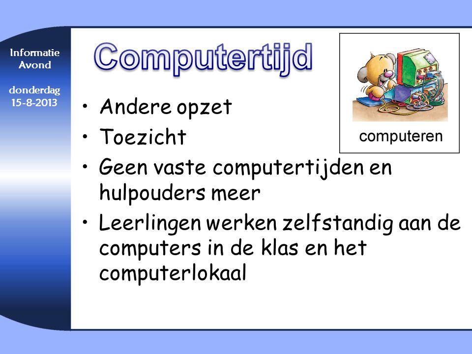 Computertijd Andere opzet Toezicht