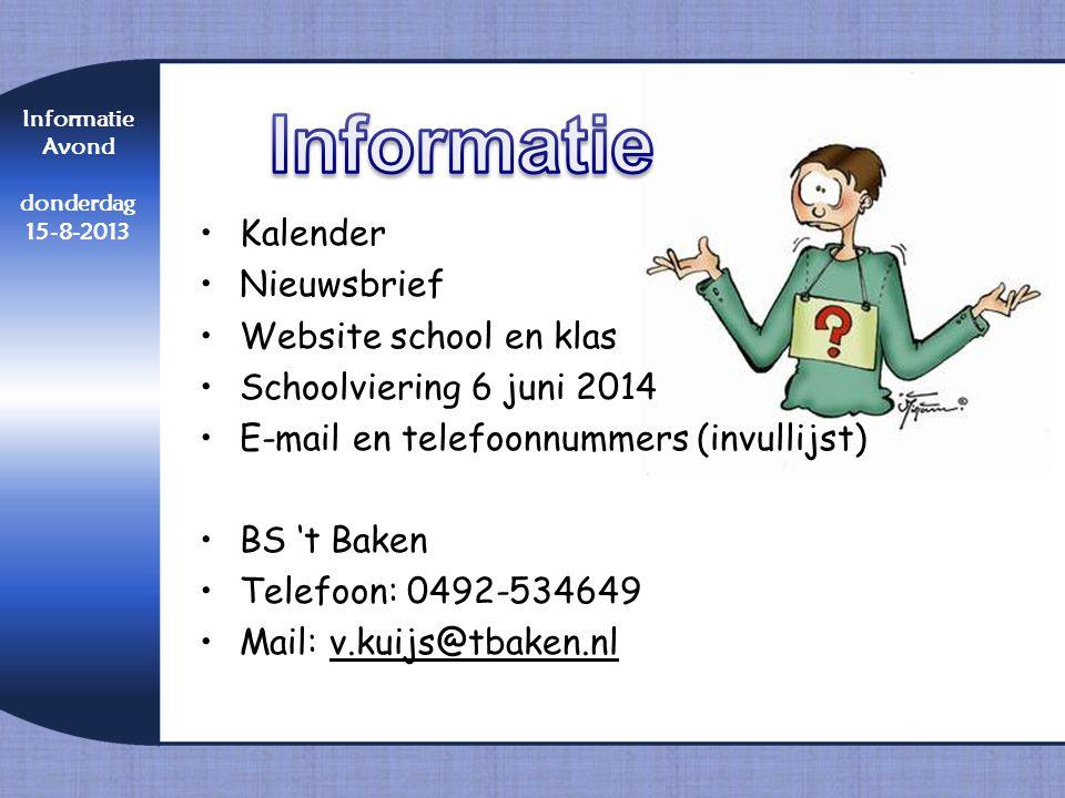 Informatie Kalender Nieuwsbrief Website school en klas