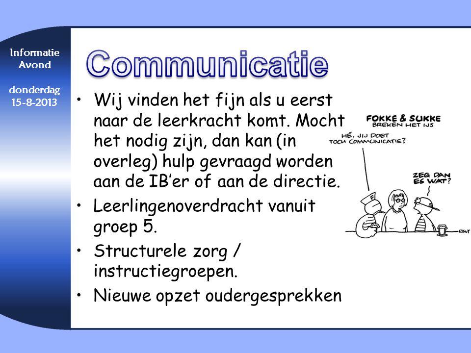 Communicatie Informatie. Avond. donderdag. 15-8-2013.